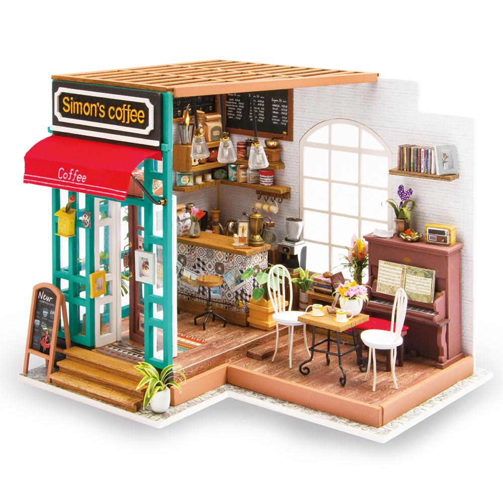 HW Robotime DIY House Hand-Assembled Creative Dollhouse Simon Coffee Shop