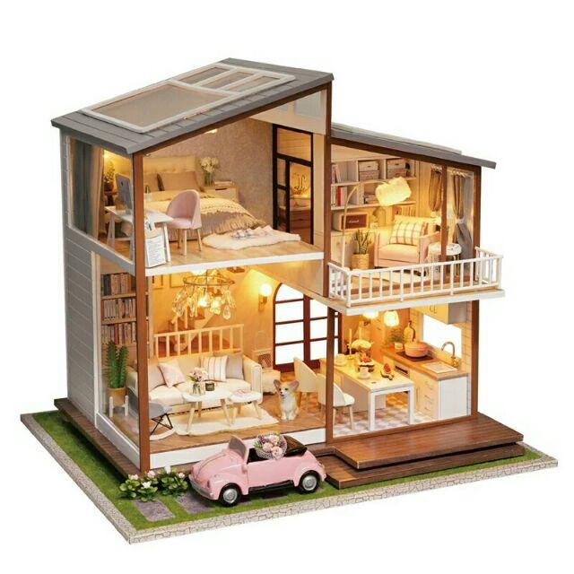 Kèm mica và nhạc – Mô hình nhà gỗ búp bê dollhouse DIY – A080 Slow Time