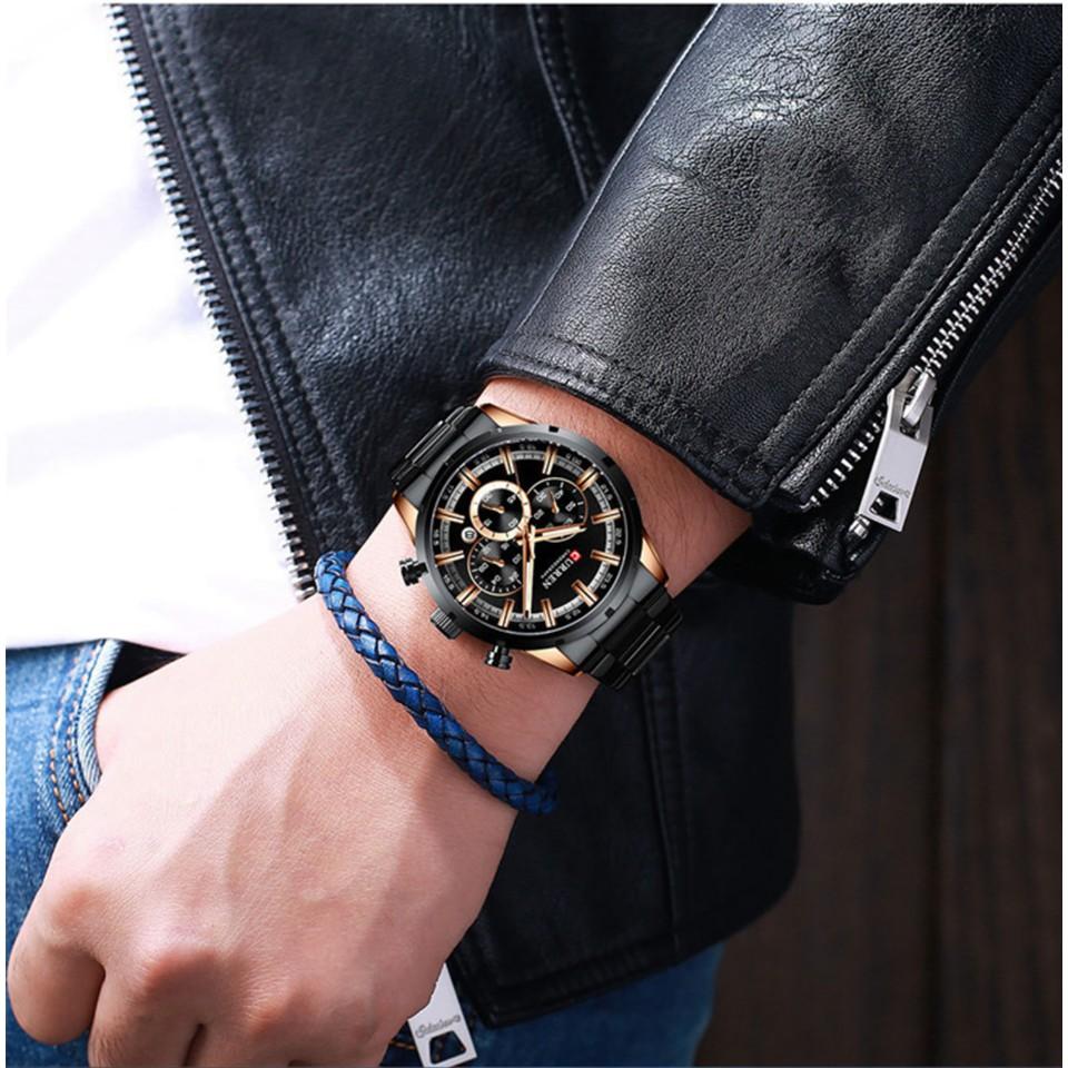 Đồng hồ nam CURREN chính hãng, dây thép đúc đặc, chạy full kim chống nước siêu tốt, lên tay cực đẹp ( Mã: AC05 )