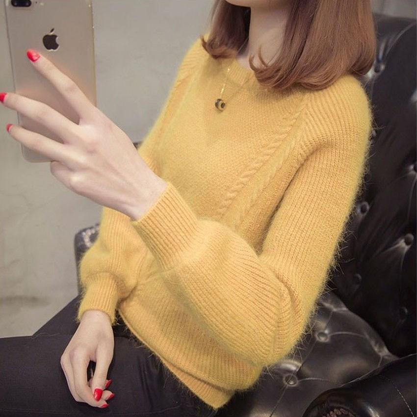 Áo len tăm nữ cổ tròn chất mềm mịn V0037