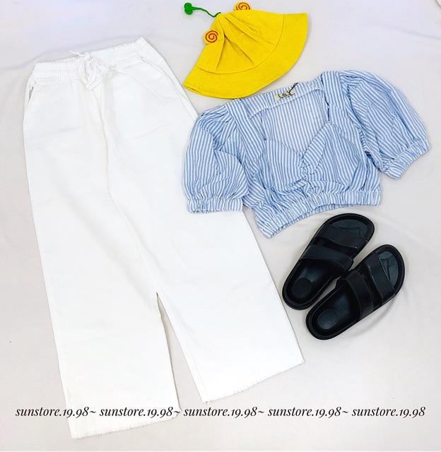 Áo croptop mili tay phồng nhíu ngực cực xinh nhiều màu (ảnh thật cận chất vảI ở cuốI) | WebRaoVat