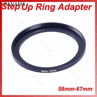 NAMA 1 PC Metal 58mm-67mm 58-67 mm 58 to 67 Step Up Filter Ring Adapter Black