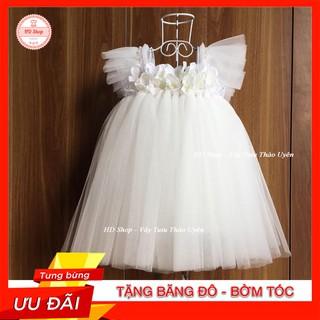 Váy Cánh Tiên ❤️FREESHIP❤️ Váy cánh tiên trắng hoa tú cầu cho bé gái