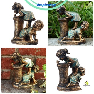 ❀SIMPLE❀ Fountains Garden Statues Party Supply Courtyard Wastreake Boy & Girl Art Yard Deocration Lawn Decor Outdoor Garden Patio Deck Home Sculpture Ornaments