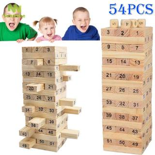 ♥♣♥ 2016 New 54pcs/Pack Wooden Tower Wood Building Blocks Toy Domino Stacker Educational Jenga Game Gift