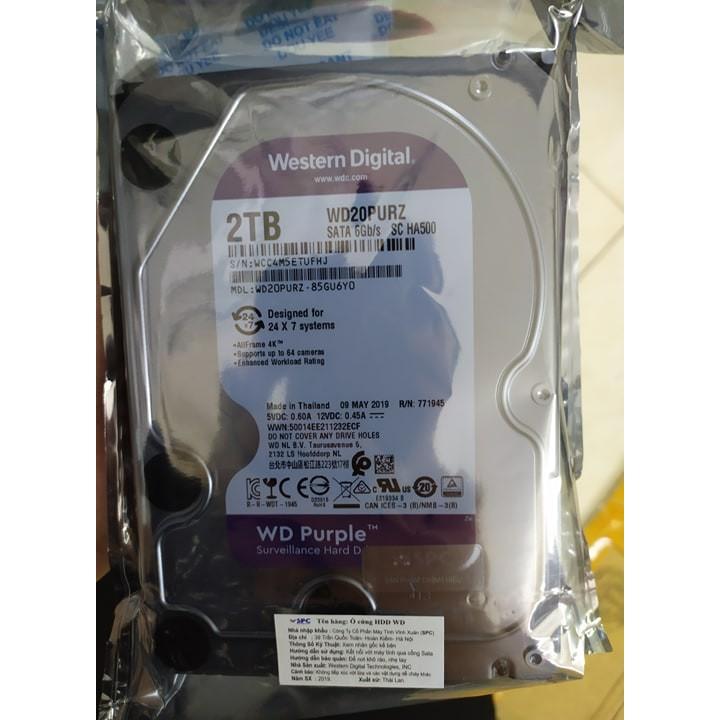 (Chính Hãng Vĩnh Xuân)Ổ cứng 2TB Western Purple 3.5″ Giá chỉ 1.450.000₫