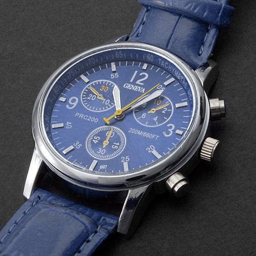 Đồng hồ thiết kế 3 mặt dây đeo giả da kiểu dáng thời trang unisex