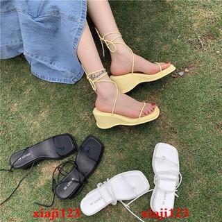 Giày Sandal Đế Xuồng Mũi Vuông Phối Dây Xinh Xắn Thời Trang
