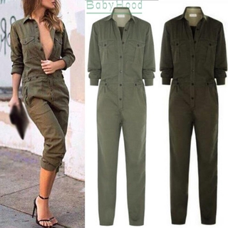 Ladies Jumpsuit Solid Long Wide leg Casual Playsuit Bodycon Retro Overall Trouser Lapel Clubwear Beach Holiday