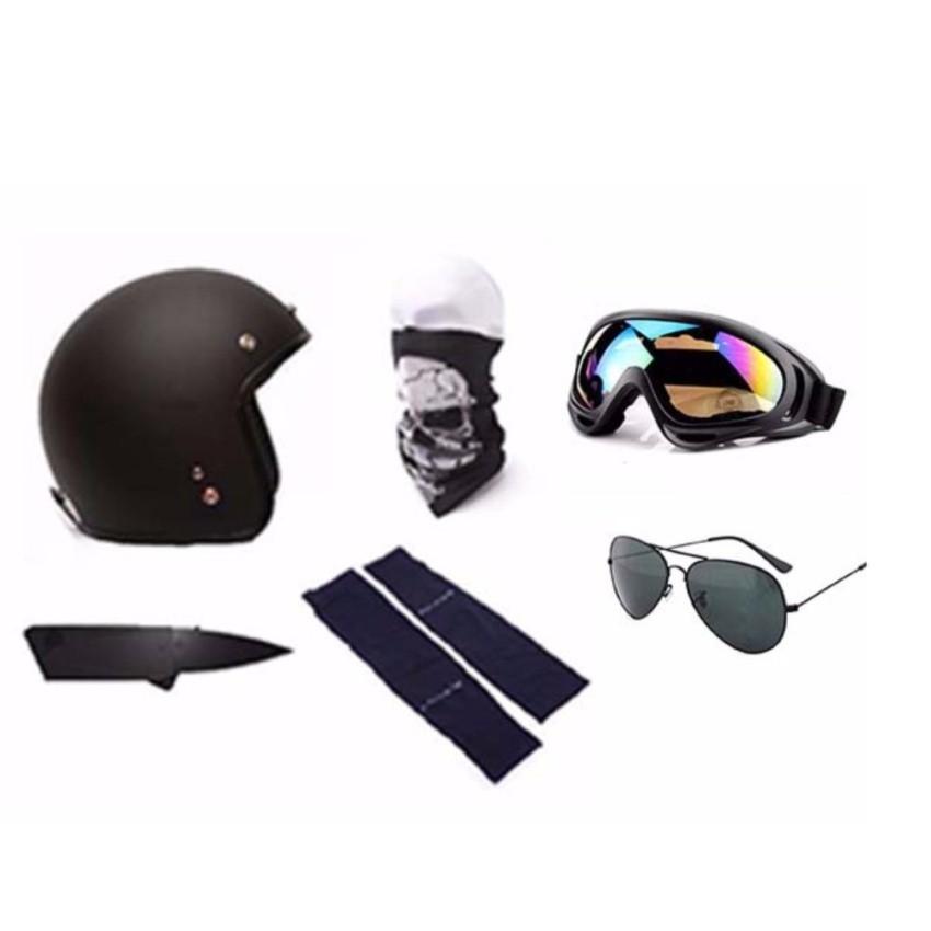 Mũ bảo hiểm 3/4 đầu tặng găng tay, dao atm, khăn đa năng đi phượt,kính uv 400 và kính phi công