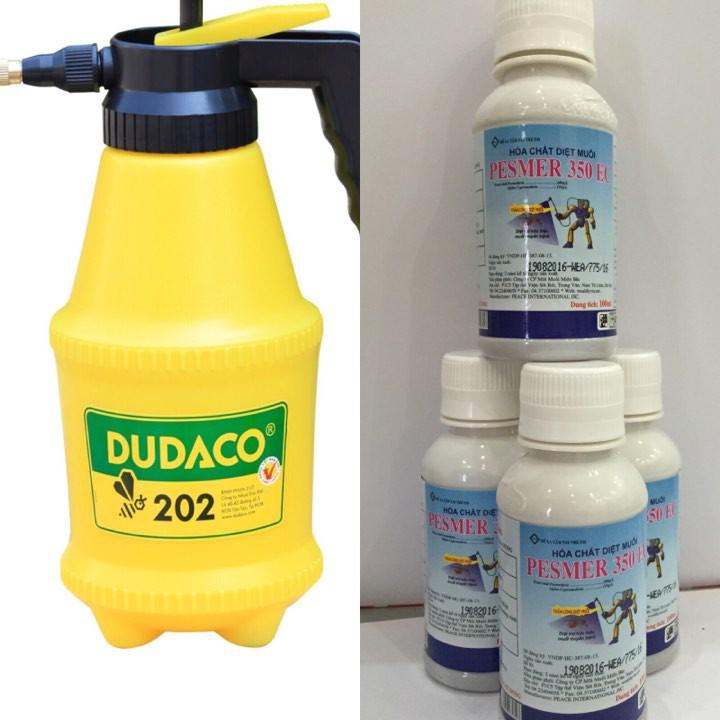 Combo bình phun muỗi, kiến, gián + 1 chai thuốc diệt muỗi Pesmer 350EC- 100ml