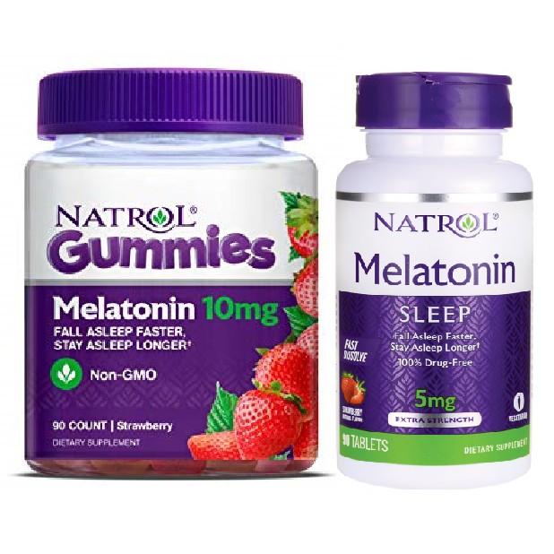 Kẹo ngậm ngủ ngon MELATONIN NATROL 5mg &10mg gummies Fall asleep faster [Date 2020] 🍡