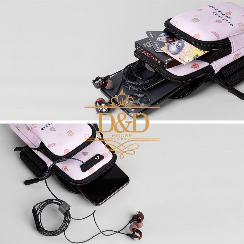 Túi đựng điện thoại đeo cánh tay chạy bộ họa tiết xinh xắn