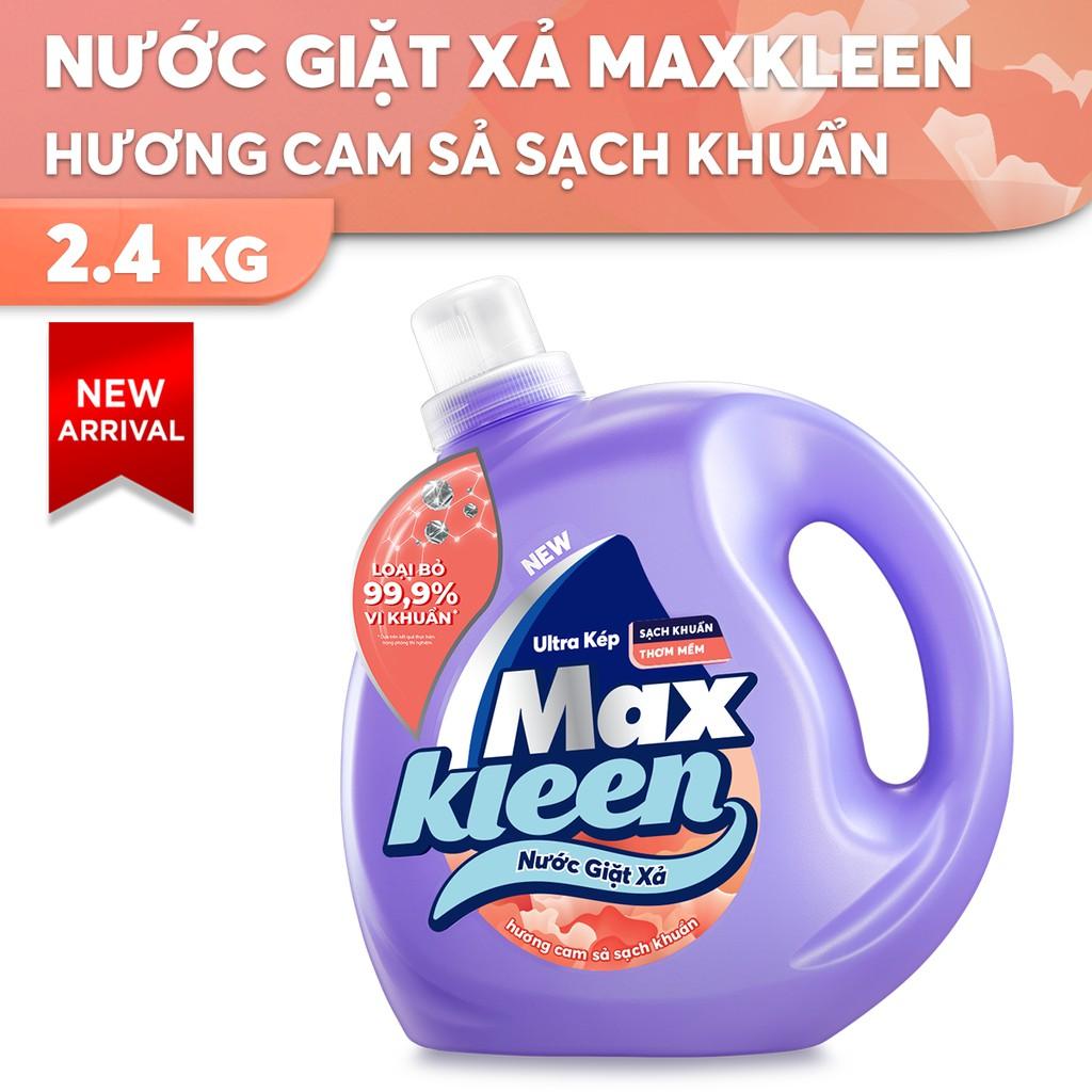 Chai Nước Giặt Xả MaxKleen Hương Cam Sả Sạch Khuẩn 2.4kg (MỚI)