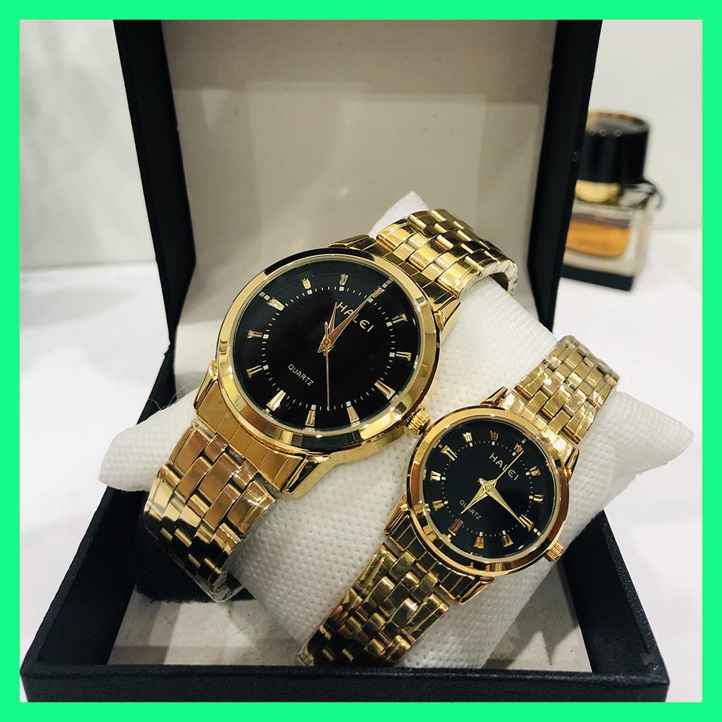 Đồng hồ đôi cặp nam nữ Halei giá 1 đôi chống nước dây vàng tặng pin