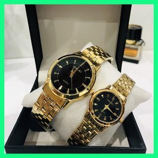 Đồng hồ đôi cặp nam nữ Halei giá 1 đôi chống nước dây vàng tặng pin thumbnail