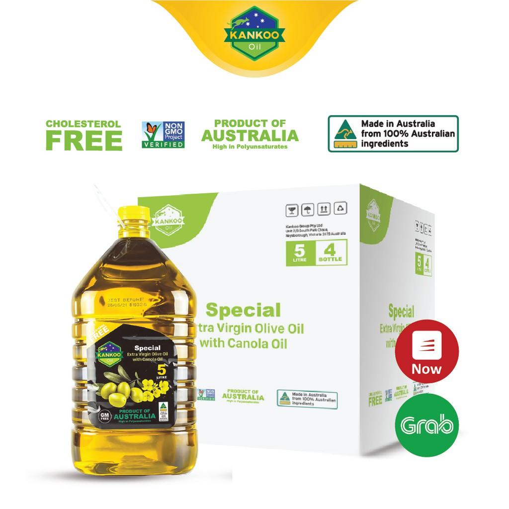 Nguyên thùng dầu ăn Kankoo nhập khẩu Úc loại 5 lít (4 can, tổng 20 lít), dầu Oliu hạt cải chuyên chiên xào, salad tốt