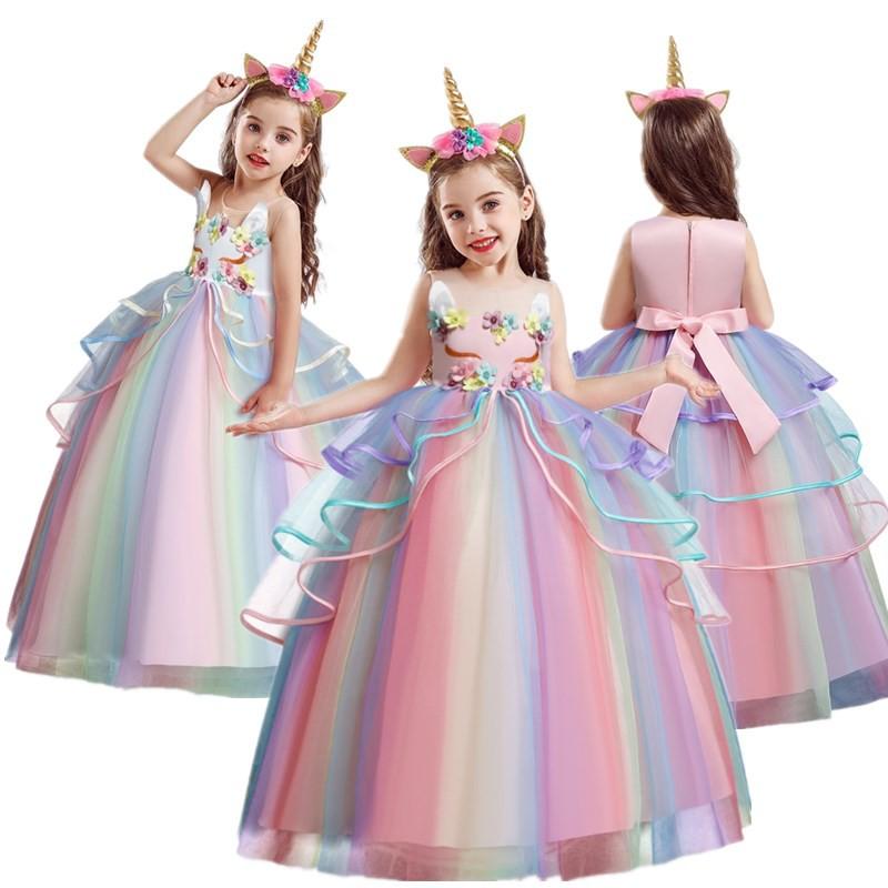 Đầm Công Chúa Thêu Hoa Cho Bé Gái Từ 4-10 Tuổi