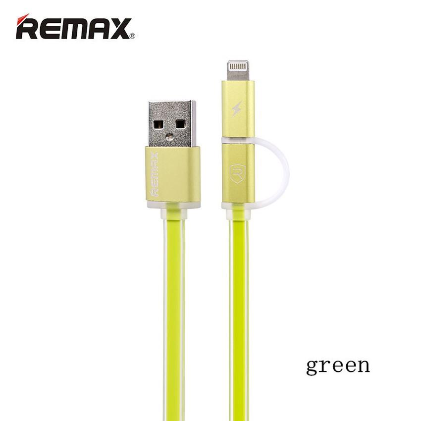 Cáp USB sang IP6 + Micro REMAX 1m Aurora (Xanh lá)
