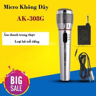 [Mã ELFLASH5 giảm 20K đơn 50K] Mic hát karaoke không dây, Mic không dây kết hợp có dây AK308 lọc âm tốt, chống hú