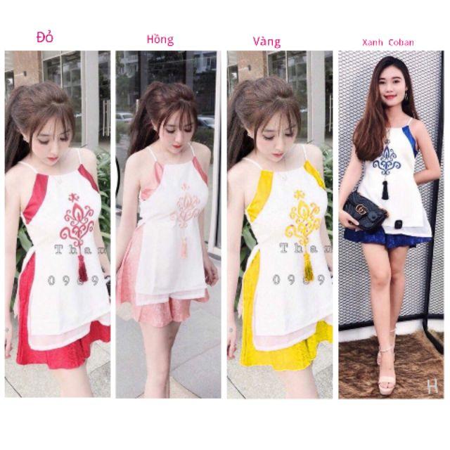 Set Áo Yếm Dáng Dài Xẻ Tà Đính Họa Tiết Kèm Chân Váy