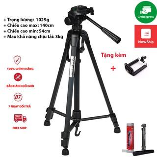 Chân máy ảnh, tripod Weifeng WT-3520, khung nhôm cao cấp, tặng kèm kẹp điện thoại
