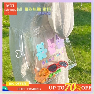 Cartoon Color Bear PVC Shoulder Bag Cute Transparent Jelly Bag Cosmetic/book Storage Bag