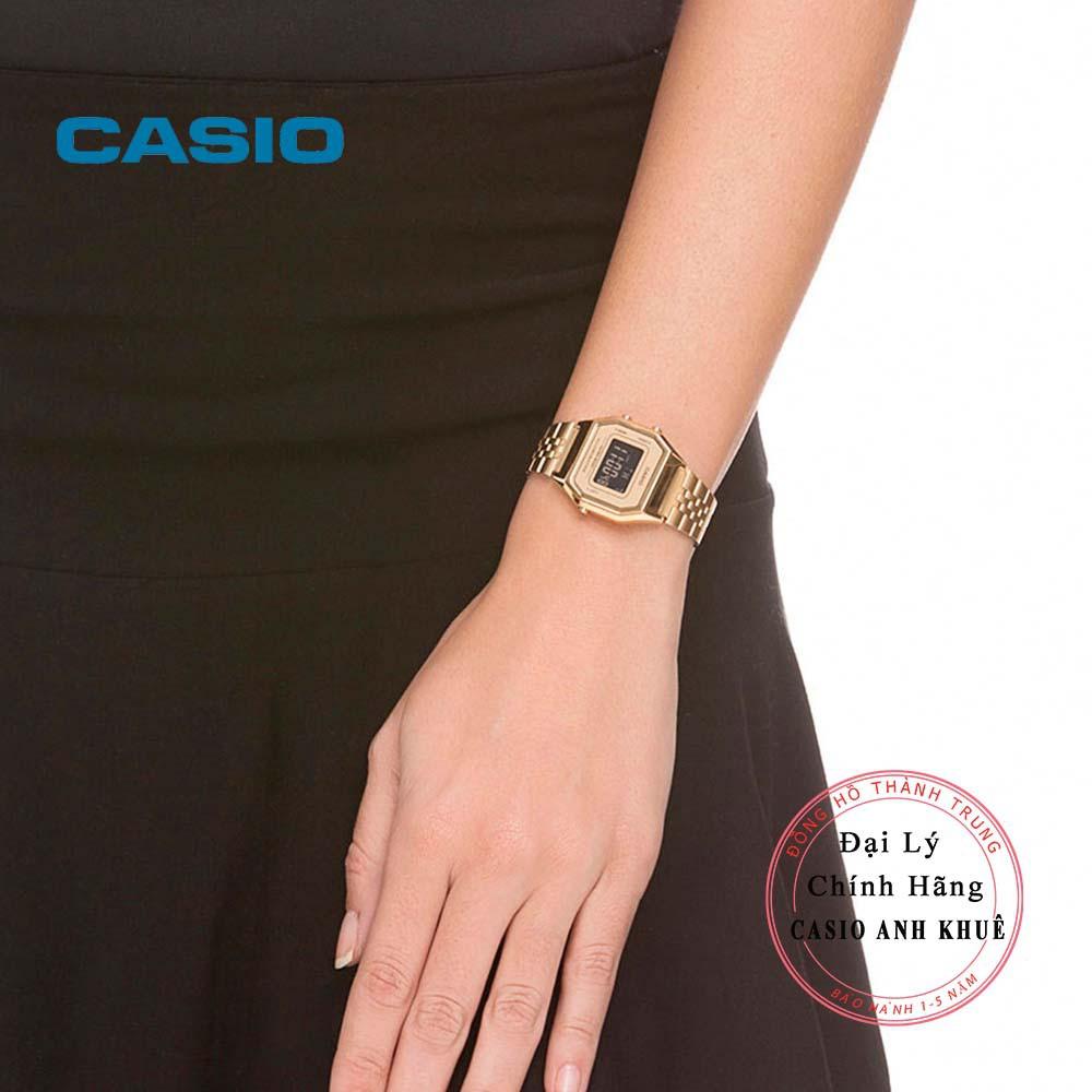 Đồng hồ điện tử nữ Casio Vintage LA680WGA-9BDF dây kim loại
