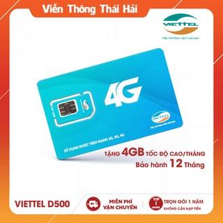 Sim 4G Viettel D500 Trọn Gói 1 Năm Không Cần Nạp Tiền ( Tặng 4GB/Tháng )