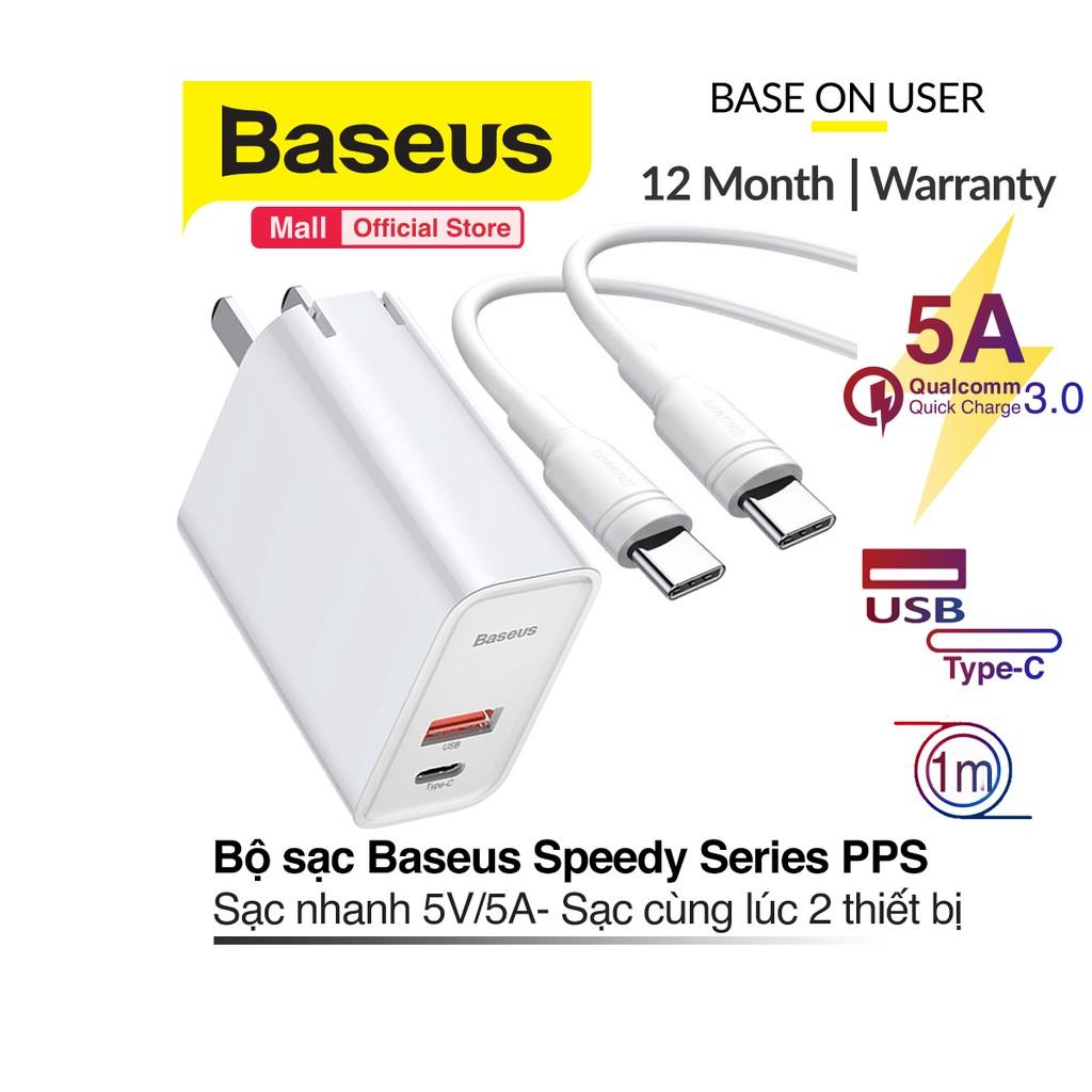 Bộ sạc Baseus Speedy Series PPS sạc nhanh 5V/5A công suất 30W cùng lúc 2 thiết bị cổng USB và TypeC dây cáp dÀ