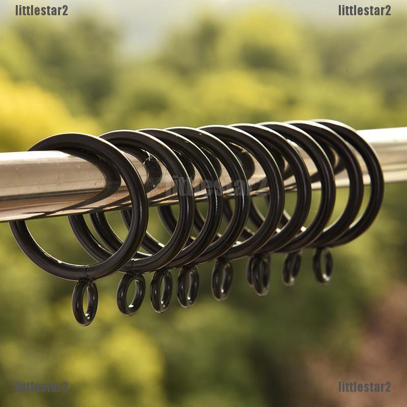 Bộ 10 vòng tròn kim loại màu đen dùng treo màn cửa tiện lợi dễ sử dụng