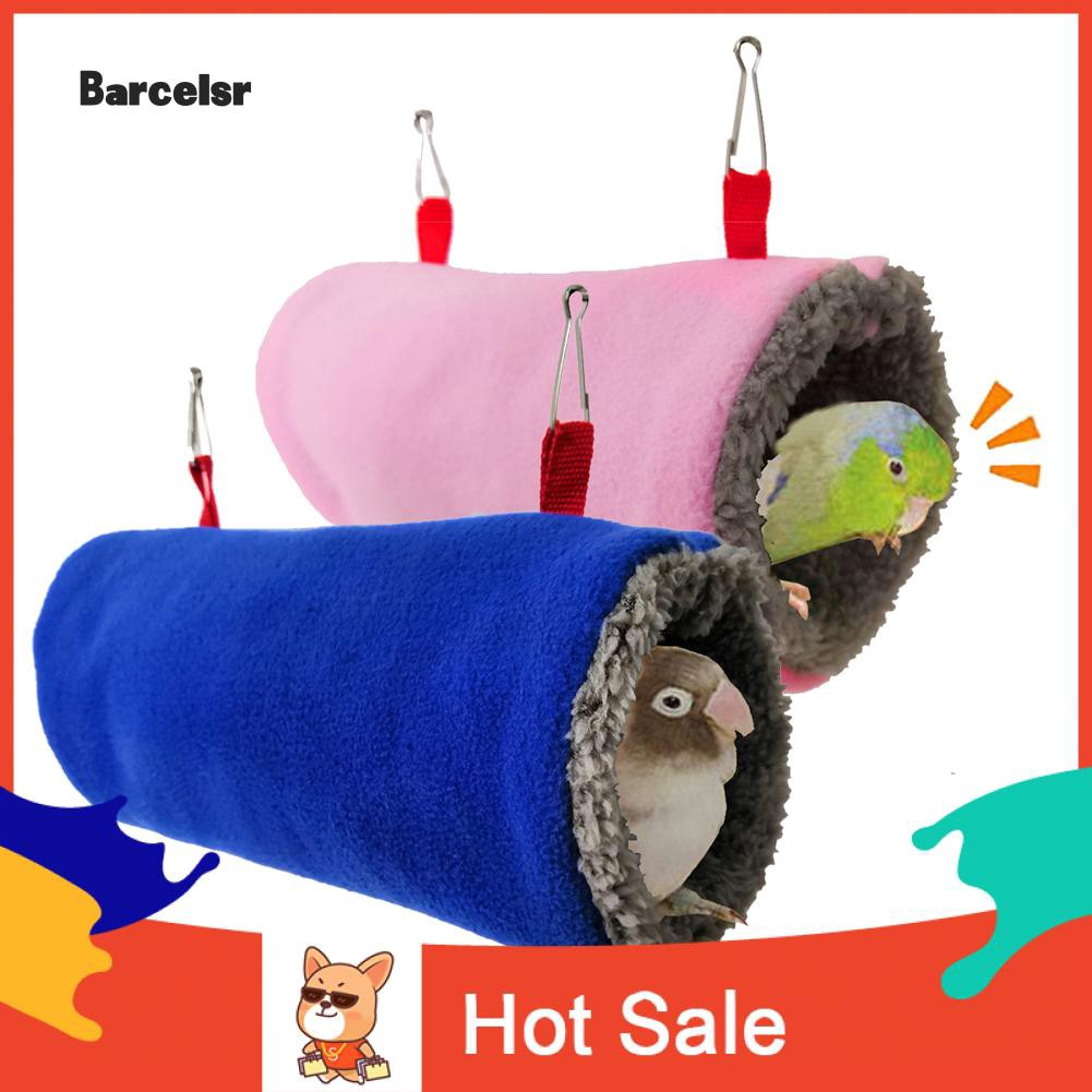 ♡ Hamster Parrot Bird Squirrel Pet Tunnel Hammock Soft Plush Cave Cage Hanging Bed