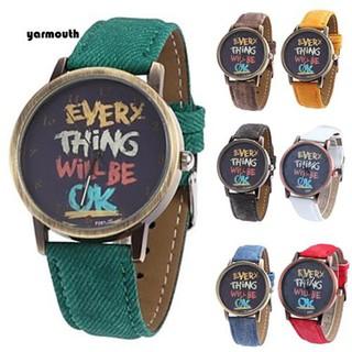 Đồng hồ kim mặt in chữ dây vải jean thời trang năng động cho nữ
