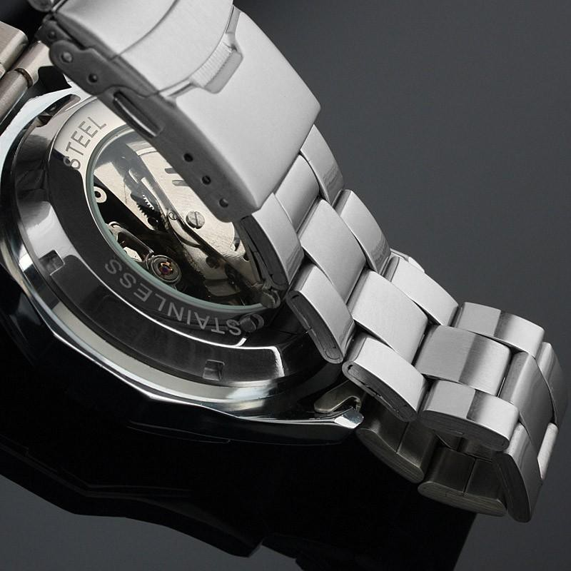 Đồng hồ nam Winner TM340 cơ lộ máy dây thép không gỉ