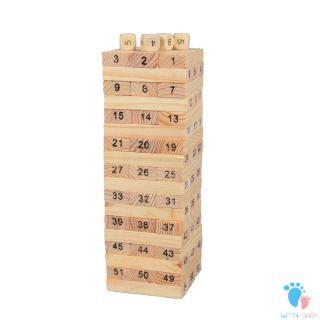 54pcs/set Non-Toxic Children Kids Wooden Building Blocks Education Game Toy