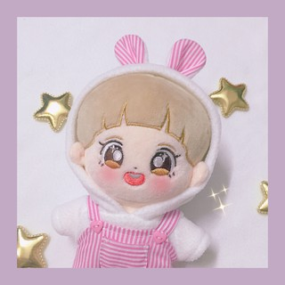 [Có sẵn] Set hoodie thỏ caro + quần yếm caro cho doll 20cm – Outfit cho doll