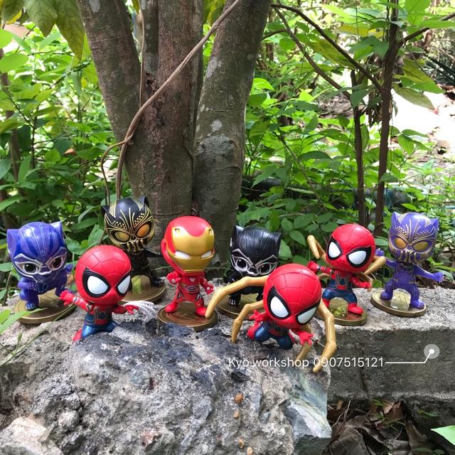 [Không hộp] Mô hình combo 8 món Chibi Black Panther – Ironman – Spiderman Marvel