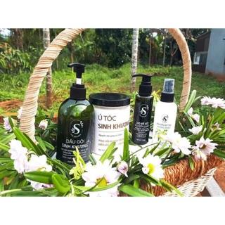 Combo 4sp cho tóc gồm dầu gội và dầu ủ Sinh Khương, cao bồ kết Dược liệu nguyên chất và xịt tóc Hương thảo