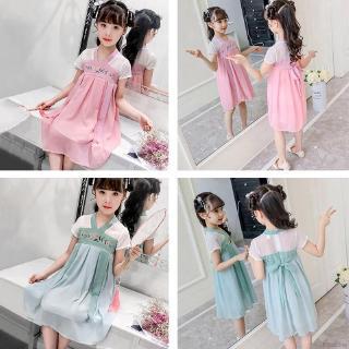 Đầm mùa hè phong cách Trung Quốc tay ngắn thêu hoa cho bé gái