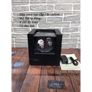 Hộp xoay đồng hồ 4 chế độ xoay - Mở lắp tự dừng - Có đèn led - Hộp đựng đồng hồ cơ - Lên cót đồng hồ cơ thumbnail