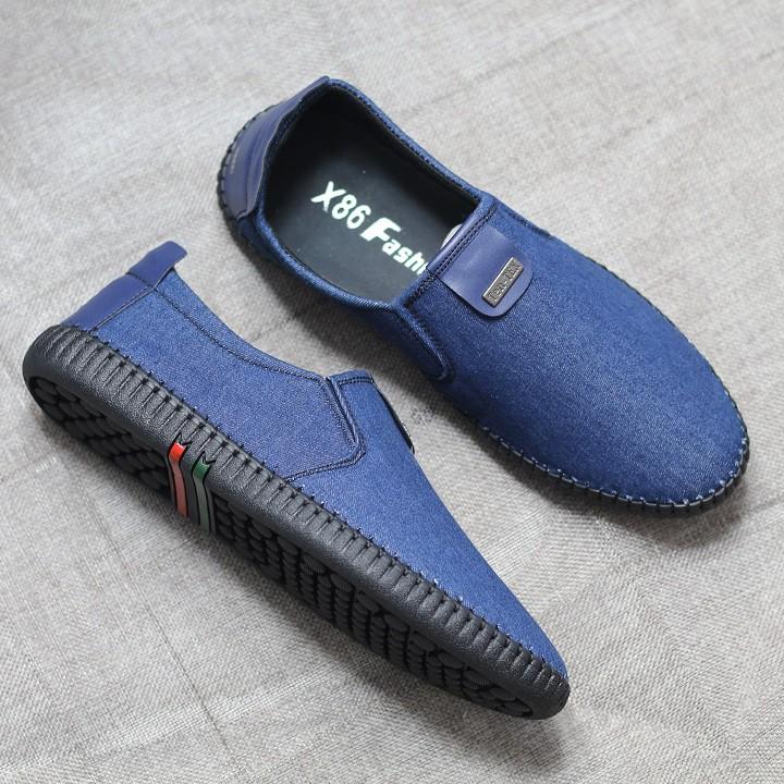 Giày lười vải jean cao cấp bảo hành 12 tháng