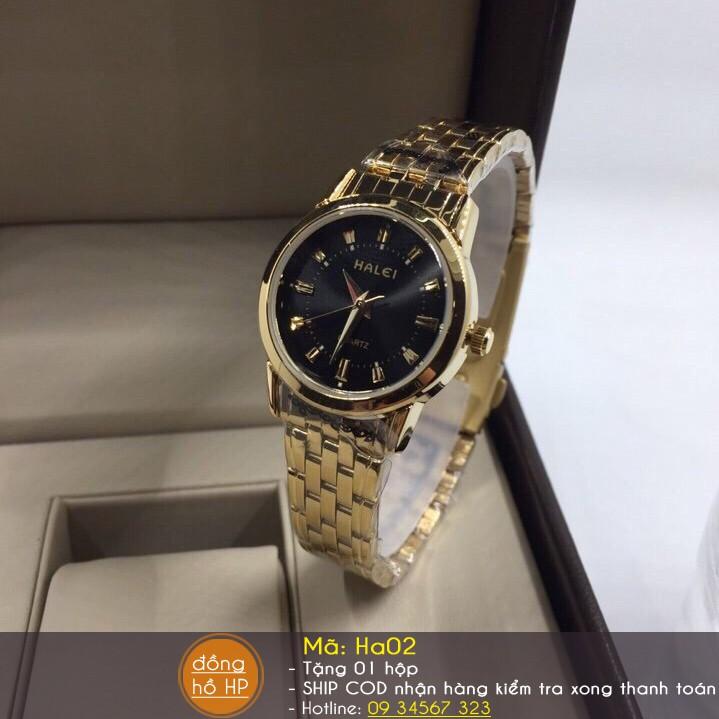 Đồng hồ nữ HALEI chống nước dây vàng