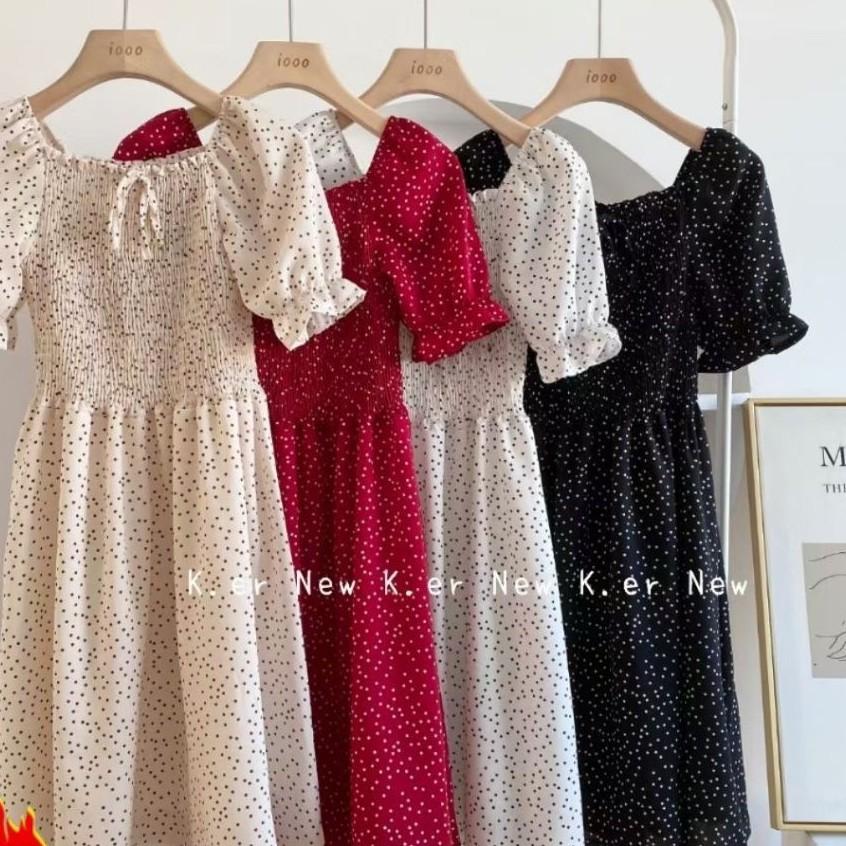 Mặc gì đẹp: Sang chảnh với (FREESHIP) Váy đầm ulzzang đầm dự tiệc sang trọng ngắn tay cổ nơ dáng đầm váy xòe M02