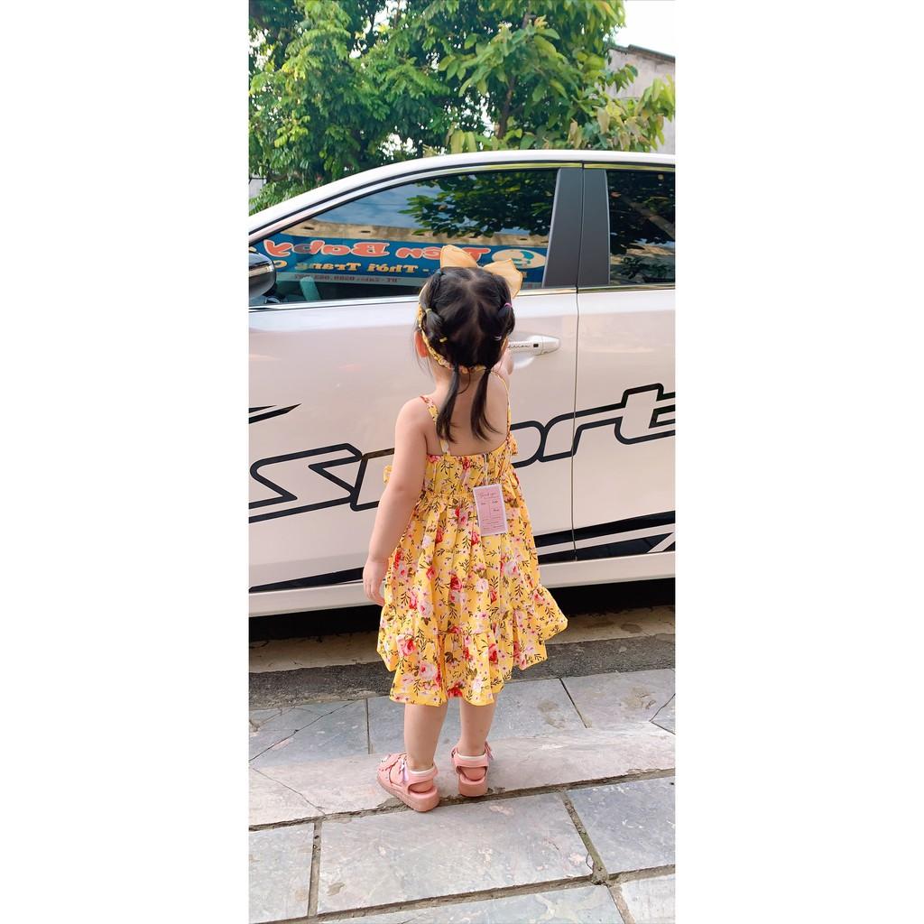 Đầm hoa vàng cho bé gái❤️ FREESHIP ❤️Quà đầy tháng (kèm chip,turban nơ) chất Lụa cotton Quảng Châu size ss - 16kg