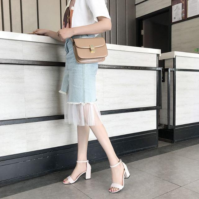 Giày cao gót nữ màu trắng đế vuông 7 phân