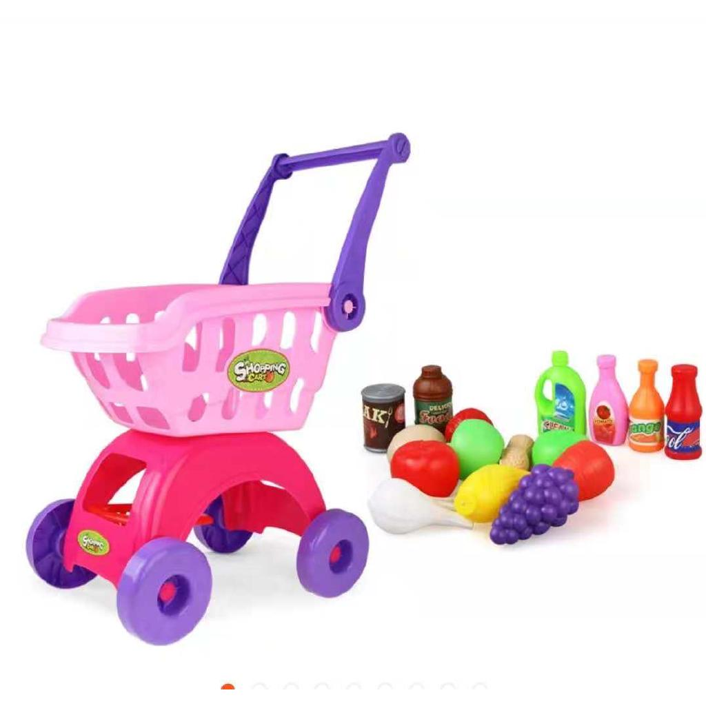 Simulation Supermarket Children's Shopping Cart Fruit Toys