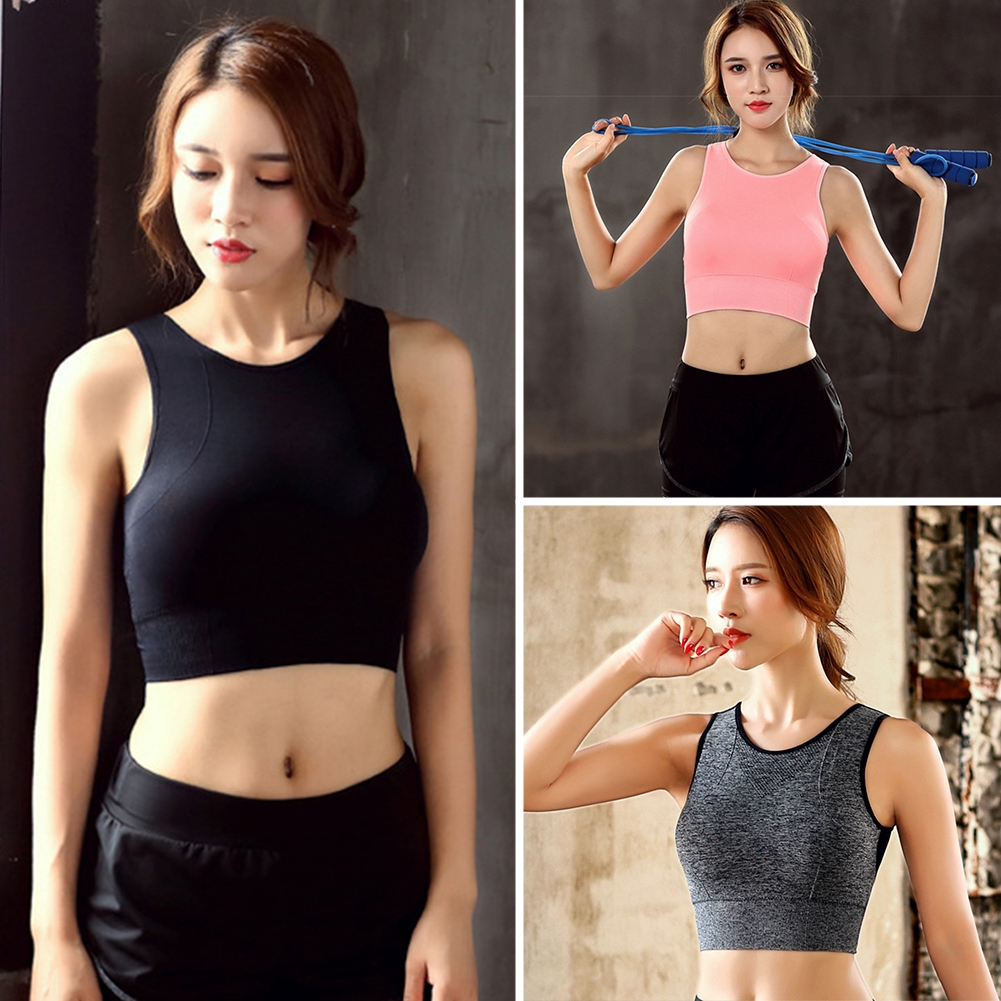 Women Running Yoga Breathable Removable Pad Back Mesh Full Coverage Fashion Workout Fitness Gym High Impact Sports Bra
