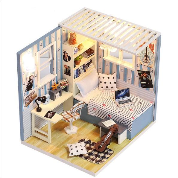 Mô hình nhà búp bê gỗ - Góc phòng ngủ của chàng nghệ sĩ Violin tương lai