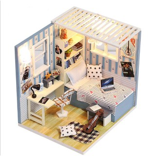 Mô hình nhà búp bê gỗ – Góc phòng ngủ của chàng nghệ sĩ Violin tương lai