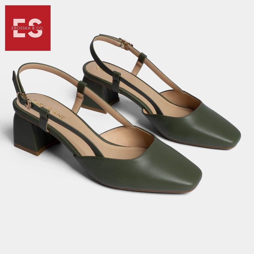 Carl & Ane - Giày cao gót thời trang bít mũi gót vuông phối dây điệu đà cao 5cm màu xanh rêu _ CL003